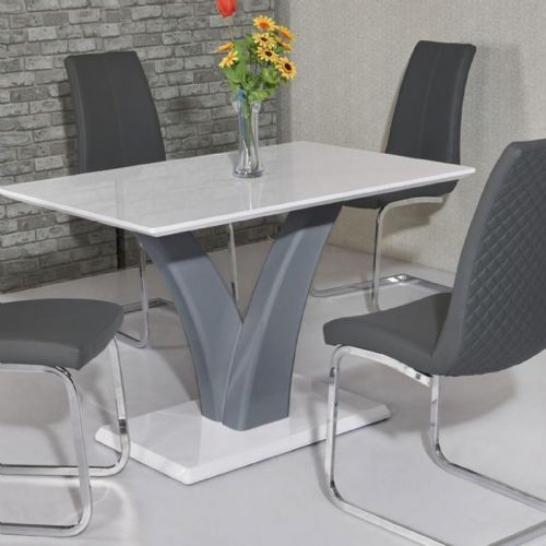 JP DT9252 Dining table120cmWhite/Grey (Small) & JP CH998 Grey Chairs From Jesse plana